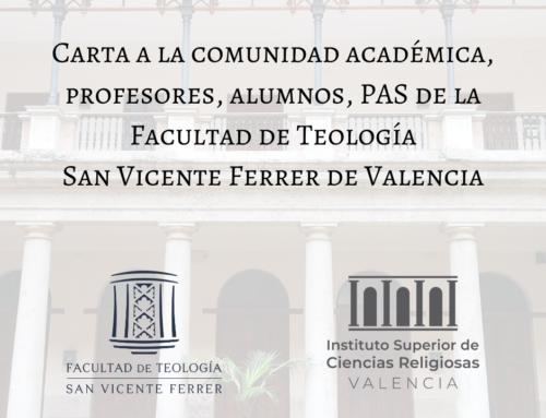 La Facultad de Teología acabará el Curso 2019-2020 sin clases presenciales
