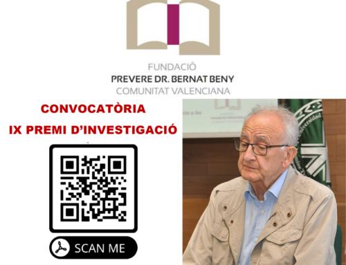 La Fundación Bernat Beny convoca la IX edición de los Premios de Investigación en proyectos educativos